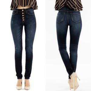 NWT Kan Can Victoria High Rise Button Skinny Jeans